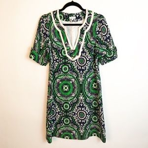 Shoshanna Green Mandala Silk Shift Dress